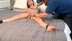 Submissive wife Eva Nixon licks her feet and cums while being all tied up