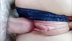 fucked in a narrow hole and cumshot on panties
