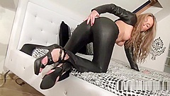 Angel cums in her leather pants