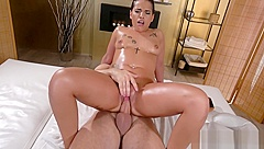 Massage Rooms Tattooed Latina Kiara Strong sensual oily fuck