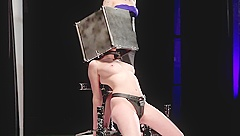 Restrained sub in leather panties