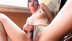 Hot asian girl gets small tits cummed by two cocks
