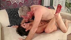 Spicy MILF, Coralyn Jewel, fucks her older gentlemans brains out. This hot tattooed