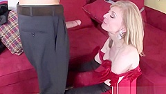 Sexy Mother-In-Law Nina Hartley Gives Blowjob Hard Touching Step son
