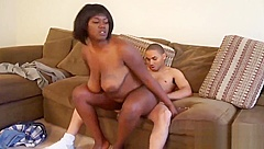 Voluptuous Ebony Honey Rides A White Member