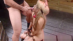 Bound throated slave cummed on