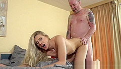 Beautiful young babe banged by super lucky senior