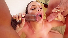 Busty Brunette Milf Sucks Two Cocks And Licks Balls