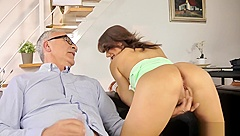 Young uk model bent over by older guy