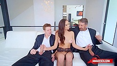 Natural tits pornstar threesome with facial