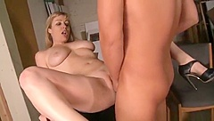 Sexy breasty experienced female Adrianna Nicole featuring hot handjob sex video
