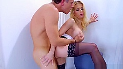 Admirable bald experienced lady Courtney Cummz is giving a blowjob outside