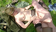 German mum seduce to fuck outdoor in forest by ugly man