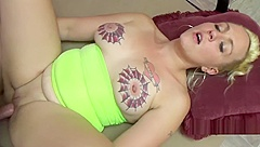 Tattooed blonde Selena Sky takes a cock in her plump pussy
