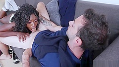 Ebony Teen Noemie Bilas Gets Twat Smashed On The Couch