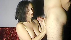cum on Maya bare tits.