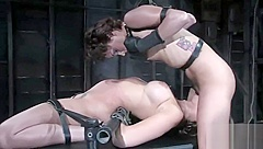 Two hotties tied together in kinky BDSM scene