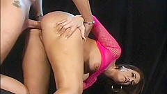 Lovely Babe In Pink Receives Hard Fucking