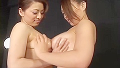 2 Busty Asian Girls In Panties Rubbing Tits And Pussies Petting On The Bed