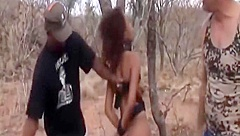 Slave From Africa Abused By Two Masters Outdoors