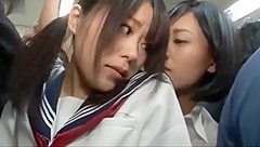 Japanese Dirty Lesbians on the train 1