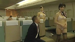 Half naked stewardesses