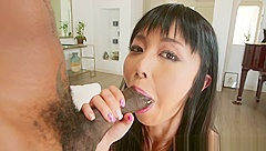Deepthroating asian babe gets fucked anally