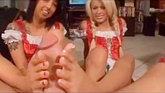 Two hot chick footjob