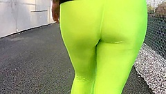Spandex Angel - Lime green public camel toe no panties