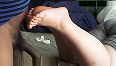 BBW NYLON AND BARE INTERRACIAL FOOTJOB