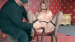 Bigtitted BDSM slave gets bound and toyed