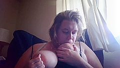 blonde cumming hard from playing with nipples