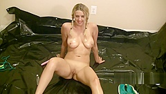 Stupid girl bikini blonde rolls in oily tarp wet and messy pigtails