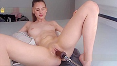 Hottest Teen Dumpster Cums Hard While Drilled By A Fuck Machine