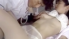Doctor inspects asian nurses tight body