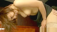 Horny japanese babe sucks cock