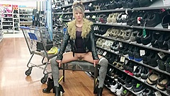 TRYING ON SHOES WITH SHORT SKIRT NO PANTIES WALMART