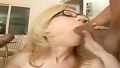 Heavenly Nina Hartley featuring an amazing interracial porn video