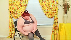 Super Sized Fatty Tries On Tights That She is Too Fat For - Struggles